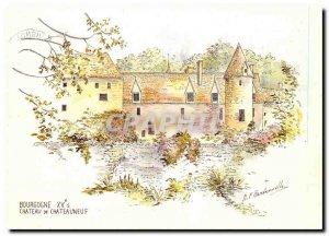 Postcard Modern Burgundy Chateau nine original watercolor