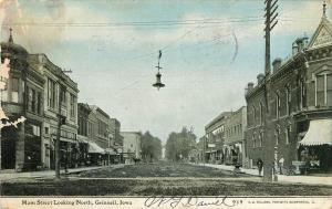 Early Postcard Main Street Scene Grinnell IA Poweshiek County Posted