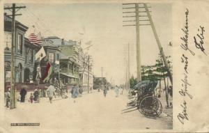 japan, YOKOHAMA, Bund Scenes with Flags, Rickshaw (1903)