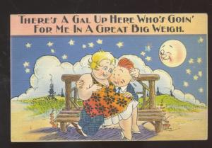 VERY FAT WOMAN FAT MAN LOVERS AT NIGHT MOON VINTAGE COMIC POSTCARD