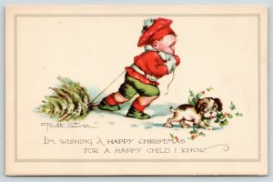 Ruth Welch Siver Christmas~Kid in Red & Green Pulls Tree Thru Snow~Puppy Dog
