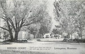 Livingston Montana~Reeder Court~Motor Motel~Highway 99~1951 B&W Roadside