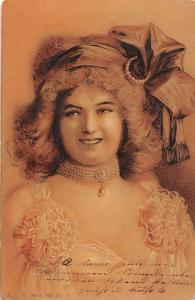 Beautiful Vintage Lady, Woman, Fancy Hat, Necklace Jewellries 1902