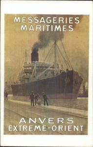POSTER ART Steamer Steamship Anvers Extreme Orient Messageries Maritimes jrf