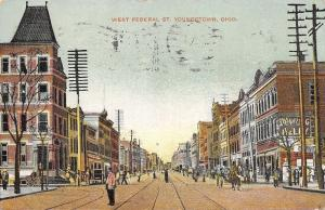 Youngstown Ohio~West Federal Street~Man in Middle~Trolley~1908 Old Home Week