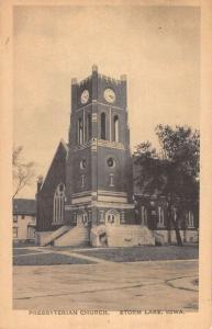 Storm Lake Iowa Presbyterian Church Street View Antique Postcard K41837
