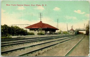 FORT PLAIN, New York Postcard NEW YORK CENTRAL RAILROAD DEPOT Train 1916 Cancel