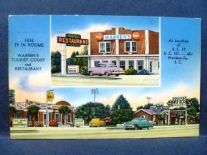 Postcard SC Hardeeville Warren's Tourist Court & Restaurant 1950's