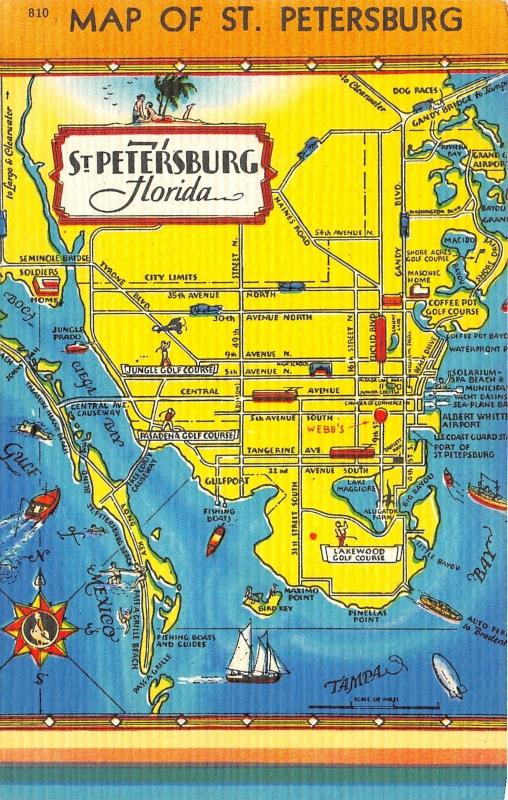 St Petersburg Florida Map.St Petersburg Florida Map Gulf Of Mexico Tampa Bay Sail Boat Jungle