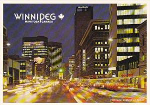 Canada Portage Avenue At Night Winnipeg Manitoba