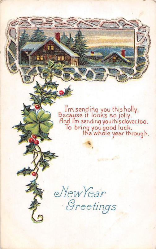 new year greetings holly jolly mistletoe shamrock luck