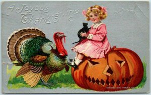 Vintage 1910 THANKSGIVING Postcard Girl Black Cat Turkey Carved Pumpkin *CREASES
