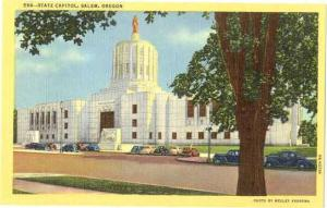 View of State Capitol in Salem Oregon OR, Linen