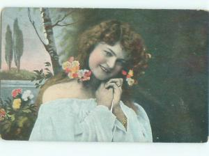 Divided-Back PRETTY WOMAN Risque Interest Postcard AA7800