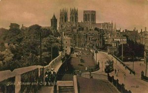 York Minster and City Walls Cathedral Street Tram Postcard