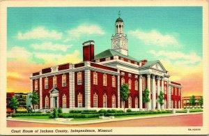 Vtg Leinen Postkarte JACKSON Grafschaft Court Haus Independence Missouri MO Unp