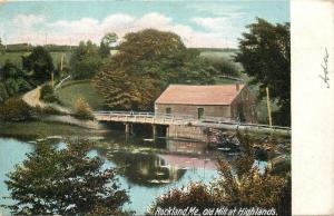 Rockland Maine~Old Mill at Highlands~Man on Rickety Bridge Behind~1905 Postcard