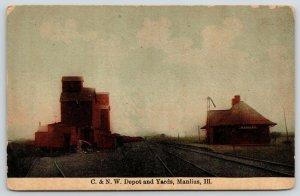Manlius Illinois~C&NW Railroad Depot & Yards~Grain Elevators~c1910 Postcard