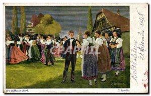 Postcard Old Dr. Hahn im Korb Spindler Folklore Costume