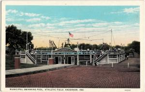 c1910 ANDERSON Indiana Ind Postcard MUNICIPAL SWIMMING POOL ATHLETIC FIELD