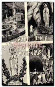 Old Postcard Lourdes Basilica l & # 39Apparition Cave crowned Virgin