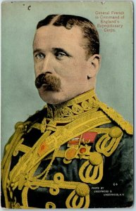 1910s Military Postcard Gen. French in Charge of England's Expeditionary Corps