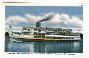 The S.S. Mount Vernon,  Linen Picture Postcard,  prisitine