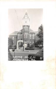 E49/ Fairfield Illinois Il Photo RPPC Postcard c50s Wayne County Court House