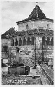 RPPC Comburg bei Schwäb Hall Baptisterium mit Brunnen Germany Vintage Postcard