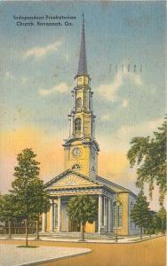 Savannah GA~Independent Presbyterian Church~Spire & Clock~View from Bull St~1951