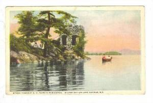 Stone Tower at S.H. Paine's Residence, Silver Bay, Lake George,  New York, PU...