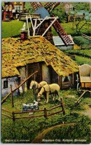 Holland, Michigan Postcard Miniature City Farm House / Horses Linen c1940s