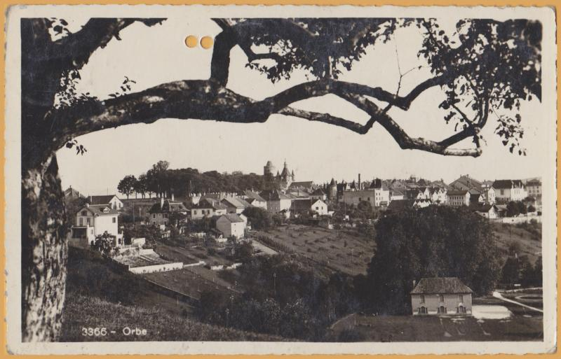 RPPC - Orbe, Switzerland - View of the town from a hill - 1936