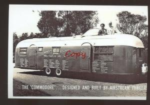 REAL PHOTO THE COMMODORE AIRSTREAM TRAILER CAMPER POSTCARD ADVERTISING COPY