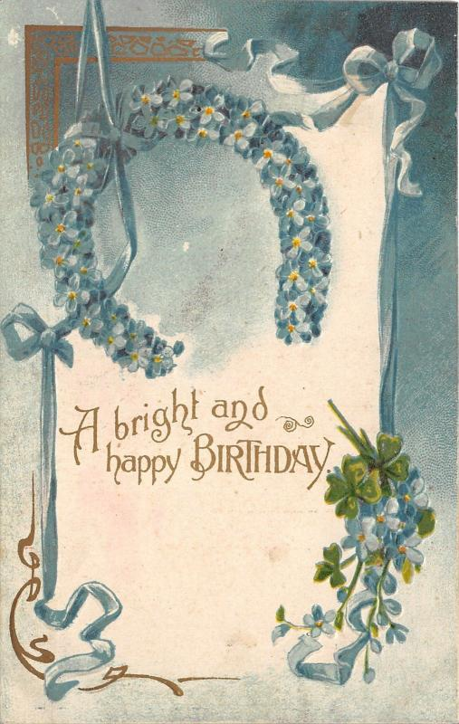 Birthday Greetings~Embossed Forget-Me-Nots Horseshoe & Ribbons~1907 Postcard