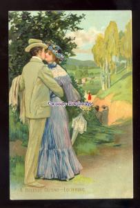 su3597 - Embossed, A Holiday Outing - Loitering  Lovers Kissing - postcard