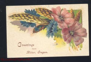 GREETINGS FROM RITTER OREGON PINK FLOWERS ANTIQUE VINTAGE POSTCARD ADAMS