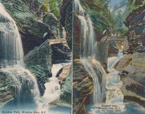 (2 cards) Rainbow Falls - Watkins Glen State Park NY, New York - Linen
