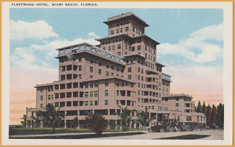 Miami, FLA., Fleetwood Hotel- Great line of old cars in parking lot-