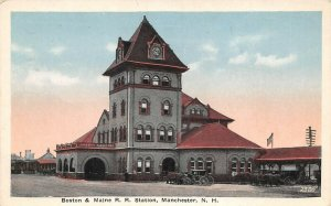 LPS38 Manchester New Hampshire Boston & Maine Railroad Station Depot Postcard