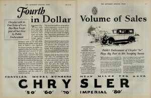 1927 Chrysler Imperial Car Fouth in Dollar Volume of Sales Vintage Print Ad 3934