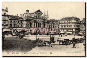 Angers Postcard Old Square rallying the theater