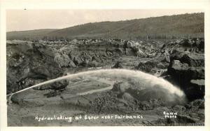 1930s  Hydraulicking Ester Mining  Fairbanks Alaska Cann RPPC Real photo 6858