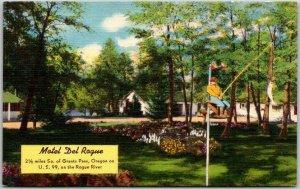 Grants Pass, Oregon Postcard MOTEL DEL ROGUE Highway 99 Roadside c1950s Linen