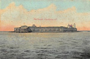 FORT SUMTER SOUTH CAROLINA~OPENED THE CIVIL WAR~1907 POSTMARK POSTCARD