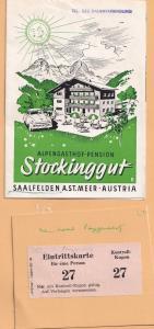 Stockinggut Saalfden Austria Alpengasthof Pension Hotel 3x Ephemera