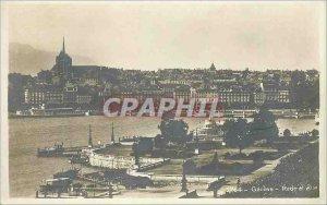 Old Postcard Geneva city and Rade Boat