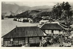 new guinea, Panorama with Stilt Houses (1950s) RPPC