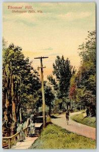 Sheboygan Falls WI~Thomas Hill~Girls on Wood Step Path~Fella Rides Bicycle~1908