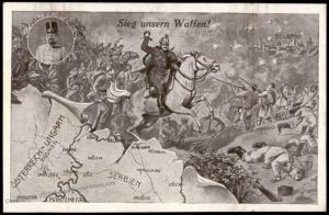 Austria WWI Patriotic Card Sieg unser Waffen Victory Serbia Map 81174